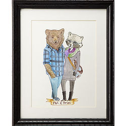 Custom Animal Couple Portrait Wall Art