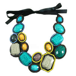 Colorful Aqua Blue Statement Bib Necklace