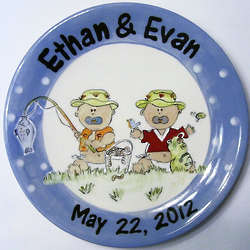 Personalized Ceramic Twin Boys Plate