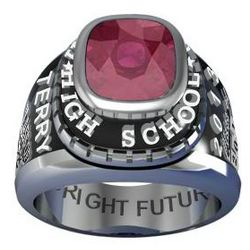 Men's Sterling Silver Traditional Birthstone Class Ring