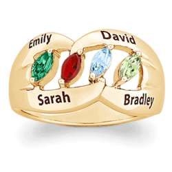 14K Gold Plated Family Name and Marquise Birthstone Ring