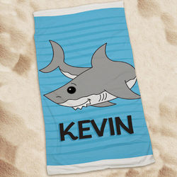 Kid's Personalized Shark Beach Towel