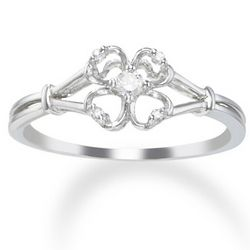 14 Karat White Gold Promise Ring with Diamonds
