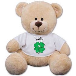 Personalized Smiling Shamrock Teddy Bear