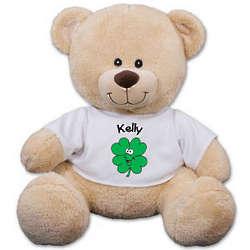 Personalized Smiling Shamrock Teddy Bear