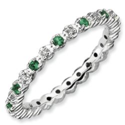 Sterling Silver Diamond and Faux Emerald Ring