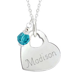 Engraved Heart of My Heart with Crystal Birthstone Charm Necklace