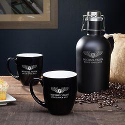 Aviator's Personalized Take Flight Coffee Gift Set
