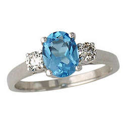 Blue Topaz and Diamond Three Stone Ring