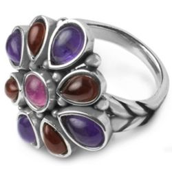 Flower Berry Gemstone Ring