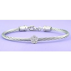 Children's Stainless Steel Cable Bracelet with Diamond Flower
