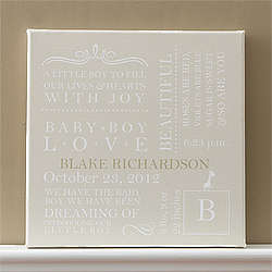 Personalized Khaki Baby Birth Canvas Artwork