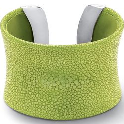 Lime Green Stingray Concave Cuff Bracelet in Silvertone