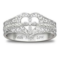 Faith, Hope and Love Blessed Inspiration Diamond Ring