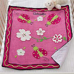 Ladybug Love Hand-Knit Embroidered Keepsake Blanket