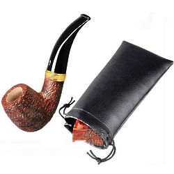 Italian Briar Tevere Bent Rustic Pipe with Stand and Pouch