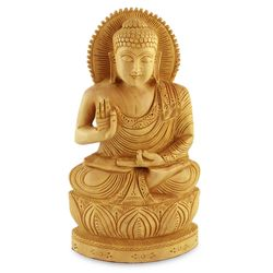 Buddha Hopes for Peace on Earth Wood Statuette