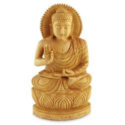 Buddha Hopes for Peace on Earth Wood Statuette
