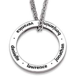 Stainless Steel Family Name Engraved Disc Necklace