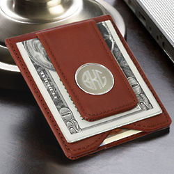 Brown Leather Wallet and Money Clip