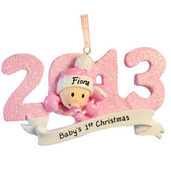 2013 Baby Girl's First Christmas Pink Glitter Ornament