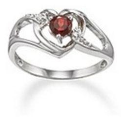 Birthstone Diamond Heart Ring in 14 Karat Gold