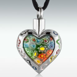 Flower Patch Heart Stainless Steel Cremation Pendant
