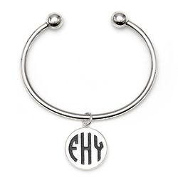 Personalized Acrylic Block Monogram Sterling Silver Cuff Bracelet