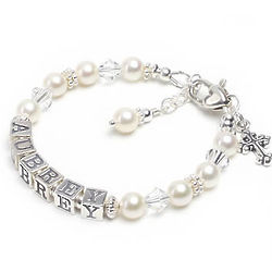 Sweet White Pearl Name Bracelet