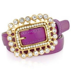 Swarovski Crystal Buckle Violet Patent Leather Belt