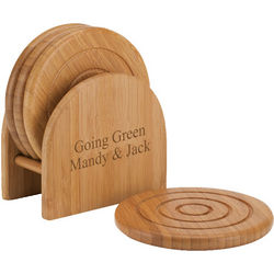 Personalized Bamboo Coaster Set