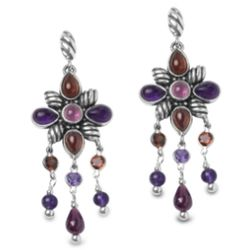 Flower Berry Gemstone Earrings