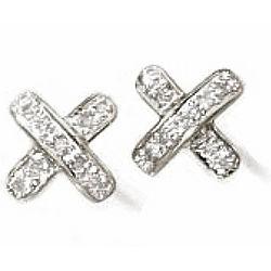 Pave Diamond X Stud Earrings in Sterling Silver