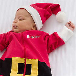 Personalized Santa Baby Bunting and Christmas Cap