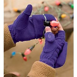 Fleece Multi Mitts Finger Gloves with Zip Compartment