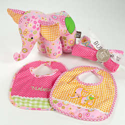 Sherbet Colored Baby Bib and Burp Cloth Set