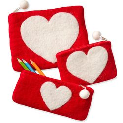 Felted Wool Heart Shape Zippered Bags