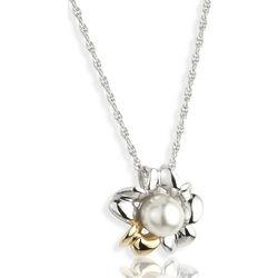 Sterling Silver Irish Primrose Pearl Two-Tone Necklace