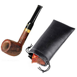 Italian Briar Tevere Straight Rustic Pipe with Stand and Pouch