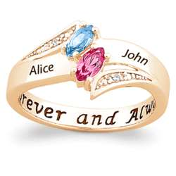 Gold Over Sterling Silver Couple's Marquise Birthstone Ring