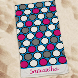 Polka Dot Personalized Beach Towel
