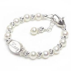 Sweet Grace Engraved Oval Bead Pearl Bracelet