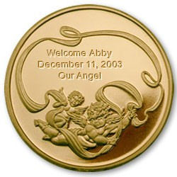 New Baby Keepsake Coin with Merlin Gold