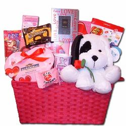 Valentine's Day Gift Basket with Plush Pup
