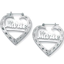 Sterling Silver Personalized Heart-Shaped Hoop Earrings