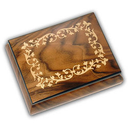 Arrabesque Inlay Wooden Musical Jewelry Box