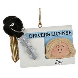 Personalized License with Key Girl Christmas Ornament