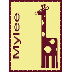 Personalized Giraffe Stroller Blanket