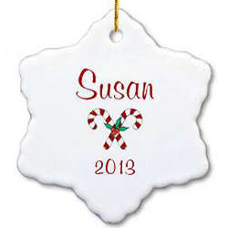 Personalized Candy Cane Snowflake Ornament