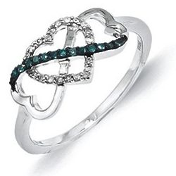 White and Blue Diamond Intertwined Heart Ring in 14K White Gold